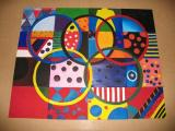 canvas art made in honor of the Olympics by an Eric Hamber art class